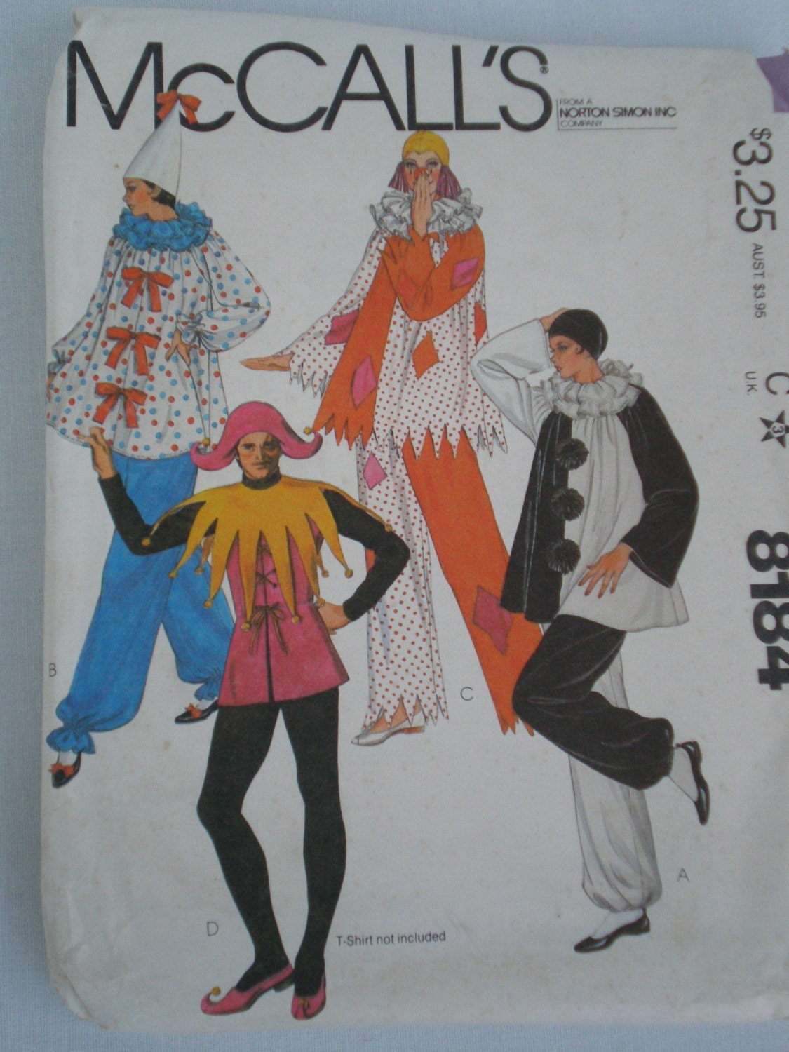 Halloween Costume Pattern Clown Jester Size Large Women And