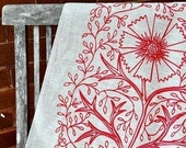 Unbleached Linen Tea Towel - Tomato Filigree