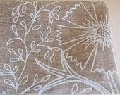 Chalk Filigree - Unbleached Linen Tea Towel