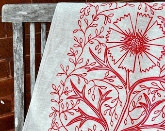 Unbleached Linen Tea Towel - Tomato Filigree