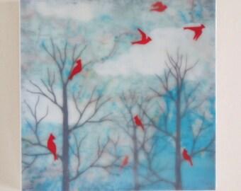 waxed mini - Maine Cardinals encaustic reproduction