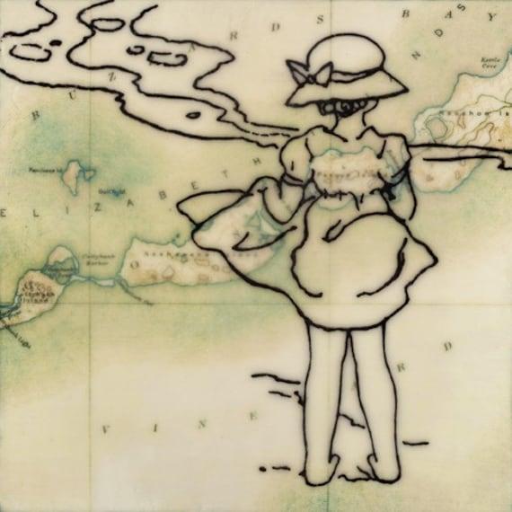 Print - Limited Edition - Elizabeth Island Girl - mixed media, encaustic