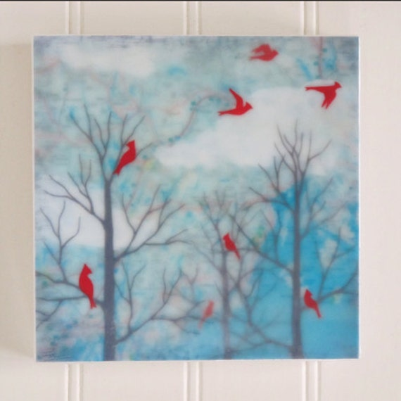 waxed mini - Maine Cardinals encaustic reproduction