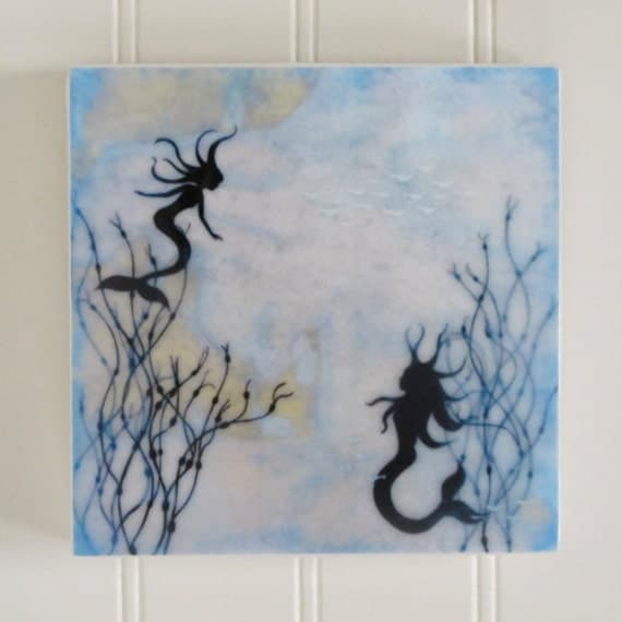 waxed mini - Mermaid Sisters encaustic reproduction
