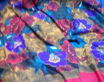 VINTAGE 1990 SILK SCARF OR WRAP X LARGE,AGORA PARIS, LARGE FLOWERS
