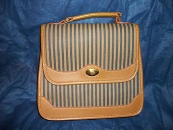 VINTAGE LEATHER AND CANVAS PURSE.  GREEN TAN  STRIPE SATCHEL STYLE
