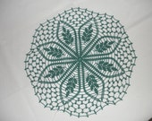 New Handmade Crocheted Spring Leaf Doily in Forest Green 16 inches