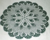 New Handmade Crocheted Peacock Feathers Doily/Tabletopper in Hunter Green 29 inches