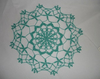 """Forget Me Not Crocheted Doily in Jade - 11"""""""