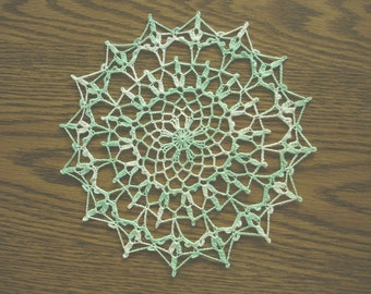 New Handmade Crocheted Serenade Doily in Variegated Mint 9