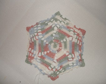 New Handmade Whirlwind Crocheted Doily in Variegated Garland 6