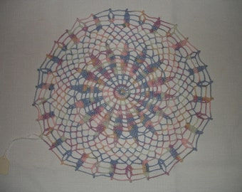 New Handmade Crocheted Blue Lagoon Doily in Baby Brights 12 inches