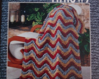 NEW ASN1269 Knit and Crochet Chenille Throws 7 Designs