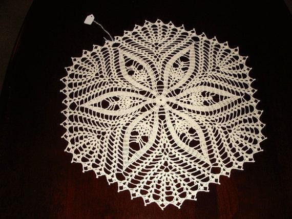 New Handmade Crocheted Shell Spray Doily in Ecru 16 inches