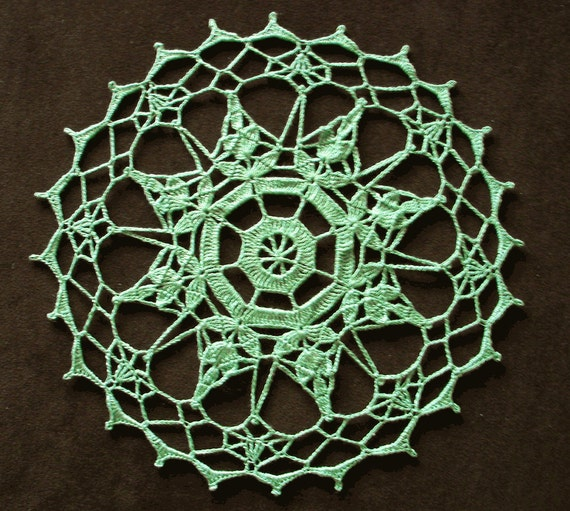 New Handmade Crocheted Pinwheel Doily in Celadon 10 inches