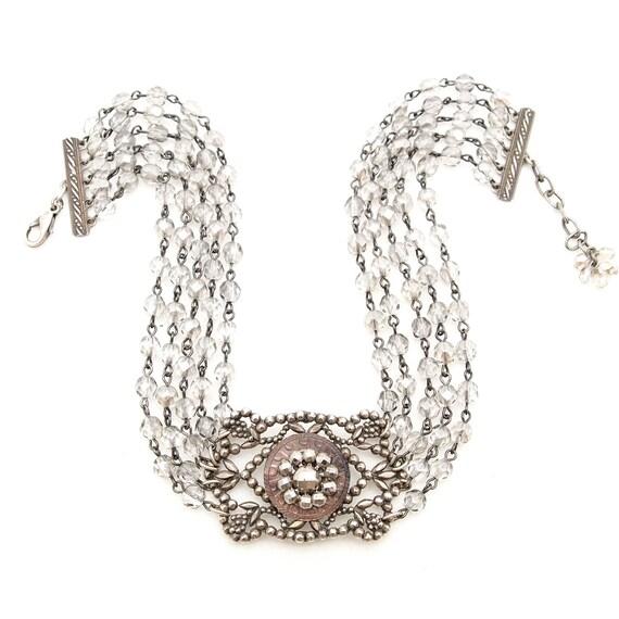 SALE 50% OFF Victorian Choker Necklace - Antique Buckle Silver Pot Metal & Czech Glass