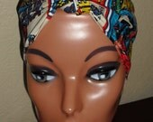 Pin-Up Rockabilly Style Hair-Head Wrap Scarf Tie Headband Made From Captain America Comic Fabric