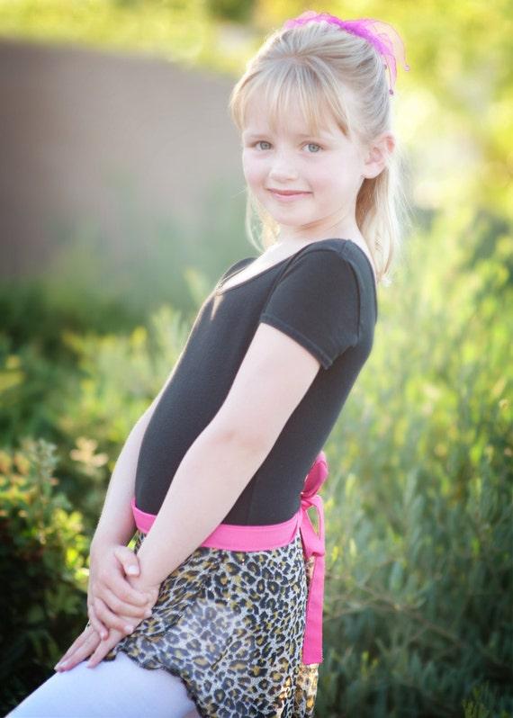 SKIRT SALE 33% OFF - Sheer Little Girls Dance Ballet Wrap Skirt, Costume, Leopard Print with Pink Ties Sz Small