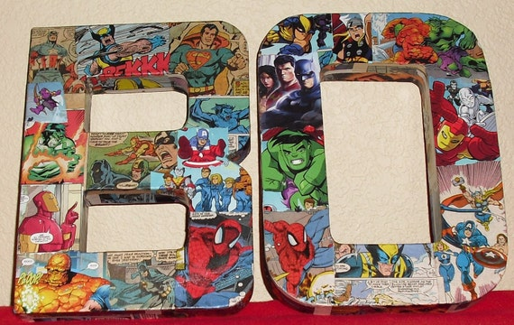 RESERVED LISTING Made to Order Comic Book Letters Wall Hangers Avengers, Spiderman, Thor, Batman, Superman, XMEN