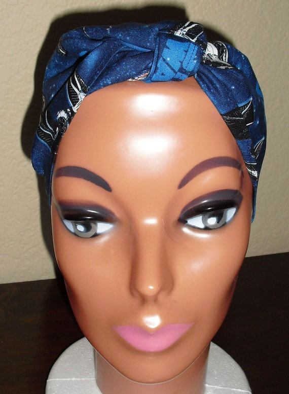 Pin-Up Rockabilly Style Hair-Head Wrap Scarf Tie Headband Made From Star Wars Ships Millenium Falcon Comic Fabric