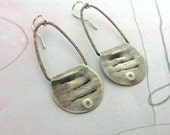 Small Scallop - Sterling silver earrings on copper wire