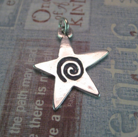 Star Charm Pendant Sterling Silver Spiral Cast in the USA Large