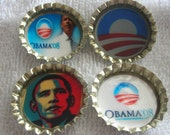Barack Obama political bottle cap magnets