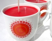 Red-Pink Candles in Espresso Cups, Set of Four