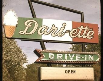 1950s Retro Drive-In Sign 5x5 Fine Art Photo