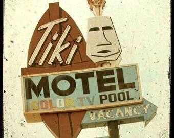 Tiki Motel Neon Sign 5x5 Fine Art Photo
