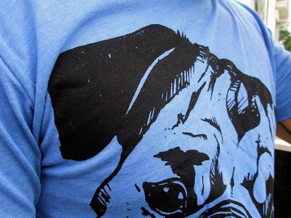 SALE - Pugsly - unisex shirt - heather blue
