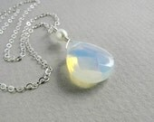 opal pearl bridesmaid sterling silver necklace silver chain single faceted quartz briolette holiday christmas