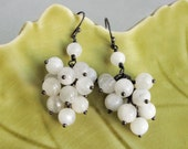"moonstone silver earrings cluster dangle dark patina sterling silver gemstone earrings  ""Moon Glow"""
