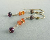 brown pearl earrings orange carnelian earrings gold dangle earrings fall inpired earrings autumn colors autumn jewelry fall earrings