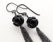 black onyx earrings, carved flower earrings, black gemstone earrings, black dangle earrings, sterling silver earrings, modern