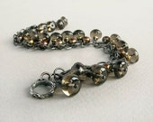 smoky quartz bracelet, fresh water pearls, sterling silver, dark finish gemstone rustic bracelet
