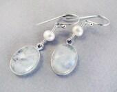 Moon Glow - Rainbow Moonstone and sterling silver earrings