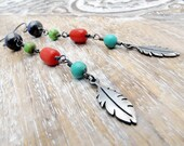 Feather Earrings, Silver Feather Earrings, Turquoise Earrings, Beaded Earrings, Southwest Jewelry Tribal Earrings Boho Earrings CIJ