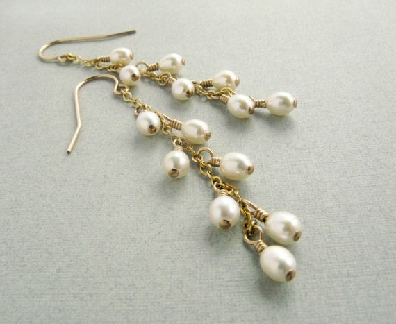 """fresh water pearl and gold filled dangle earrings, bridesmaid, bride, wedding """"Lily"""""""