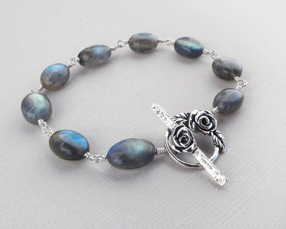 "labradorite silver bracelet ,sterling silver gemstone bracelet with rose motif toggle ""London Skies"""