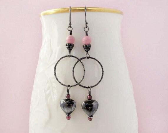 heart earrings, rhodochrosite earrings sterling silver earrings dangle earrings, bohemian earrings heart shaped earrings