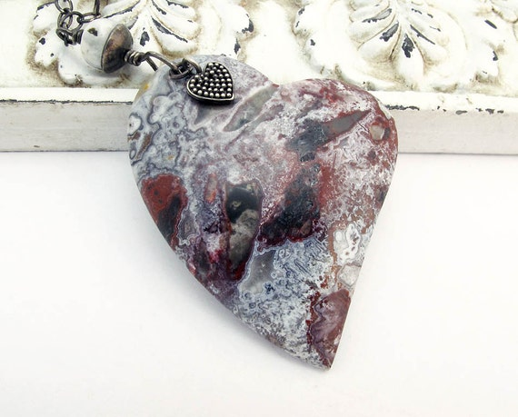 heart pendant necklace, Mexican crazy lace, sterling silver necklace, gemstone necklace, boho necklace