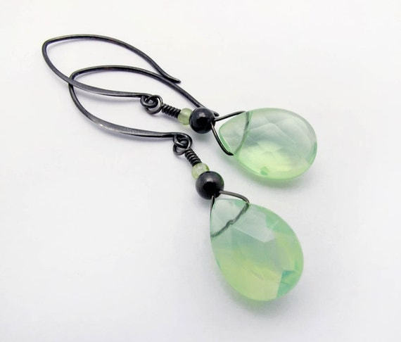 green glass briolette dangle earrings, oxidized sterling silver finish