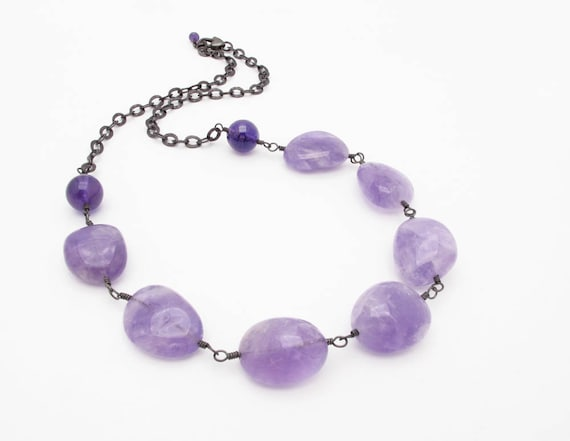 amethyst necklace purple statement necklace, gemstone necklace silver necklace chunky amethyst necklace february birthstone
