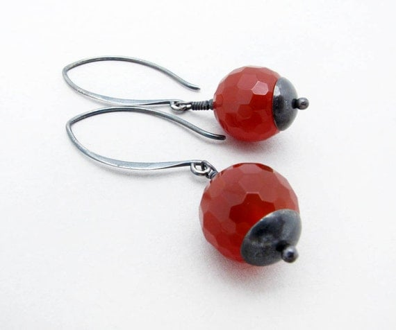 carnelian earrings,gemstone earrings sterling silver earrings orange earrings urban inspired autumn earrings, fall earrings