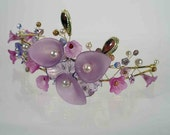 PURPLE LILY Beaded Gold Tiara Headband with Purple and Lavender Flowers and Beads