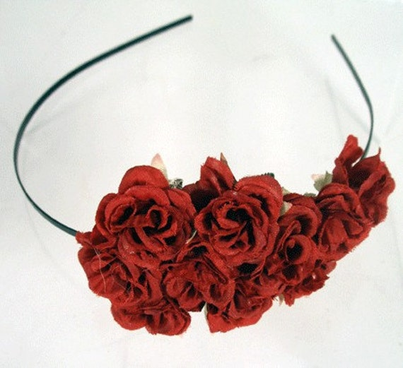 FRIDA Thin Black Headband with a Cluster of Beautiful Red Silk Roses and Silver Leaves