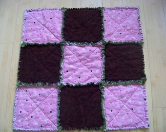 Pink Poke A Dot Flannel Quilt - Buddy Blanket