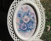 Oval plastic wicker frame by Homco