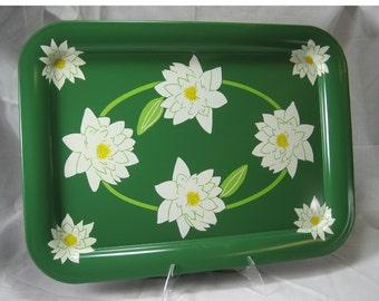 Waterlily lotus metal serving tray